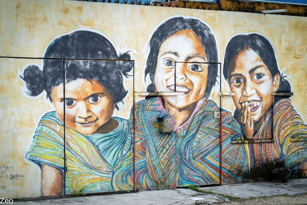 Tulum Street Art: 3 indigenous girls