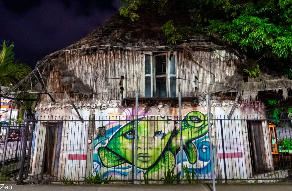 Tulum Street Art: Green girl across from Tulum sign