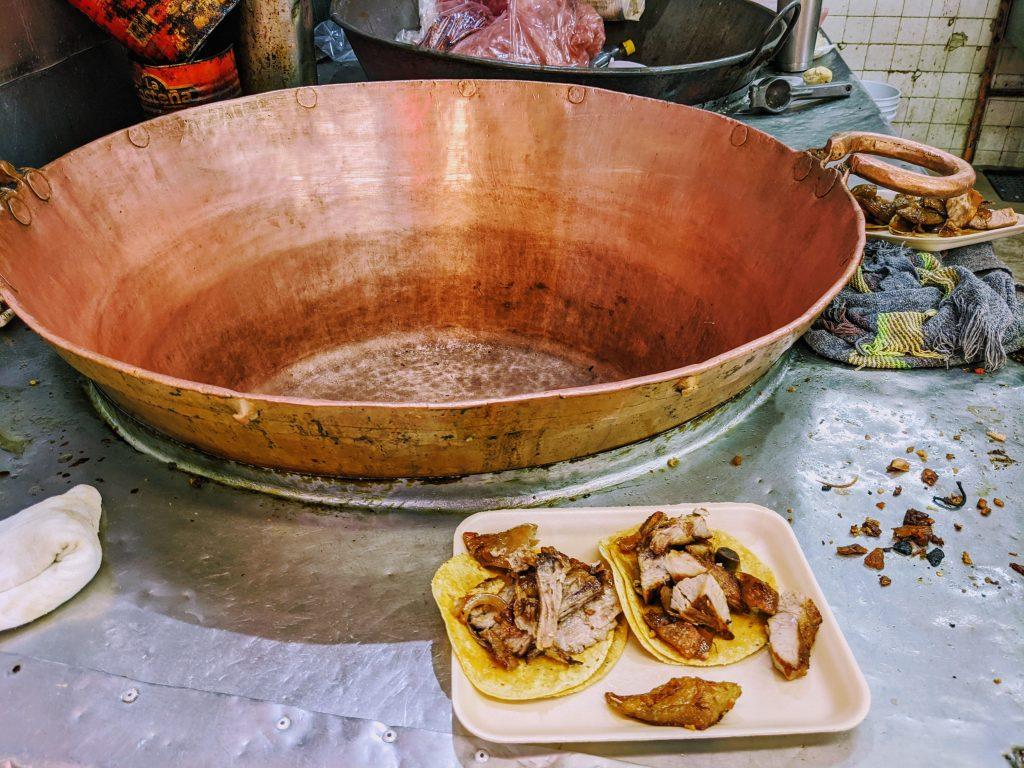 Carnitas history | Carnitas Mexico City | Copper pot | Michoacan carnitas
